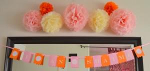 décoration pompons anniversaire princesse