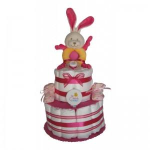 Gâteau de couches fille avec lapin