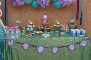 anniversaire Ariel la petite sirène sweet table