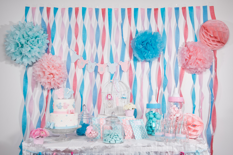 Baby shower rose et bleu organisation baby shower anniversaire enfants et bapt me - Deco de table bleu ...