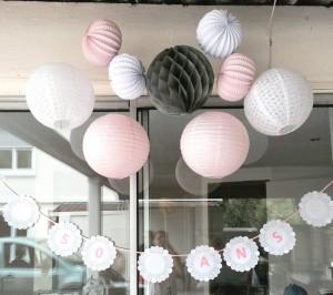 lanternes chinoises et boules alvéolées décoration de salle anniversaire