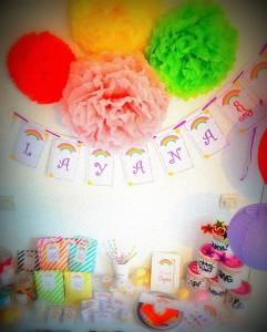 pompons de soie décoration de salle anniversaire