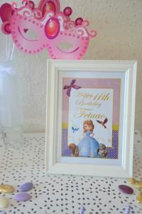 Sweet Table Anniversaire Princesse Sofia centre de table