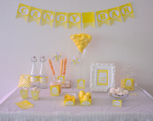candy bar ou bar à bonbons jaune kit printable