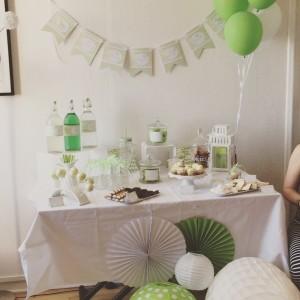 Baby shower vert pastel et blanc