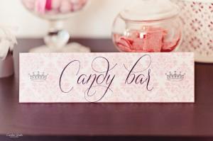 La candy bar ou bar à bonbons étiquette candy bar thème princesse rose