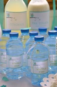 baby shower vert hibou bouteilles oersonnalisées