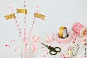 des pailles pour ma fête rose masking tape