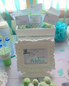 Baby shower vert hibou centre de table cadre