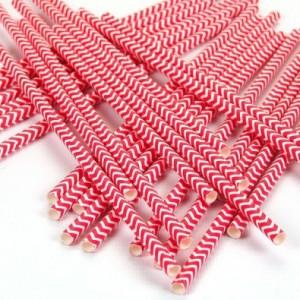 des pailles pour mon anniversaire chevrons rouge
