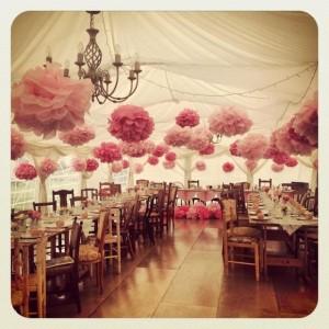 décoration avec pompons de soie couleur rose salle