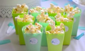 Baby shower vert hibou popcorn vert hibou
