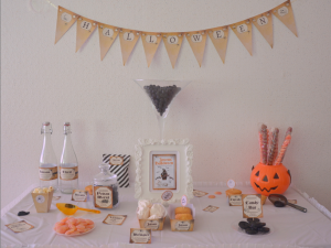 kit printable halloween Sweet table marron, noir et orange