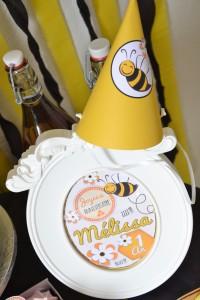 Anniversaire petite abeille chapeau DIY, cadre centre de table abeille