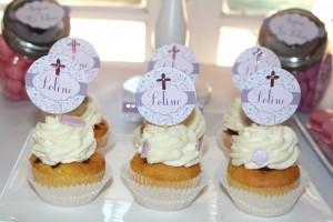Baptême liberty cupcakes blanc rose et violet