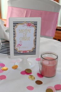 Baptême flamingo centre de table