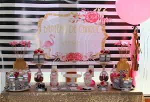 Baptême flamingo sweet table candy bar rose et rayures noires