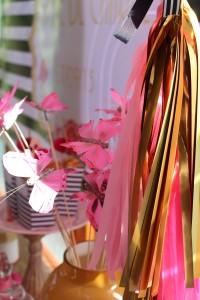 Baptême flamingo tassels rose et doré