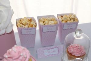 Fête de naissance rose boîtes à pop corn