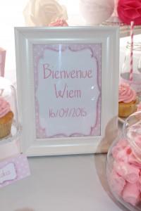 Fête de naissance rose centre de table cadre baby shower