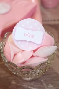 Fête de naissance rose bonbons soucoupes rose