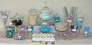 Bonbonnières plastique candy bar bleu