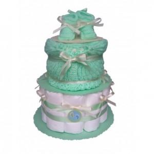 jeux baby shower gâteau de couches bleu vert