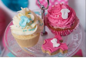 Baby shower fuschia et turquoise cup cake fille ou garçon bleu et rose