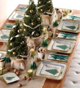 Décorations de tables de Noël thème sapin vert
