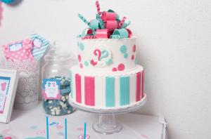 baby shower fuschia et turquoise design cake fille ou garçon