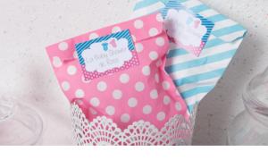 Baby shower fuschia et turquoise fille ou garçon sachets cadeau invités