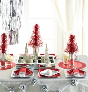 Décorations de tables de Noël argent et rouge