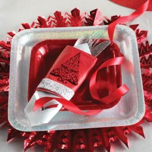 Décorations de tables de Noël vaisselle jetable argent et rouge