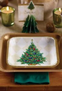 Décorations de tables de Noël vaisselle jetable sapin vert
