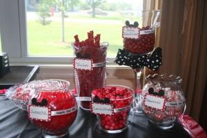 Anniversaire Mickey candy bar rouge et noir
