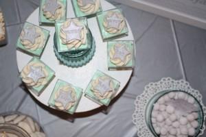 anniversaire thème étoiles cupcakes gris et bleu