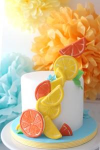 Baby shower au thème des fruits : design cake thème fruits