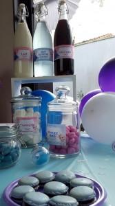 un anniversaire Reine des Neiges candy bar rose et bleu