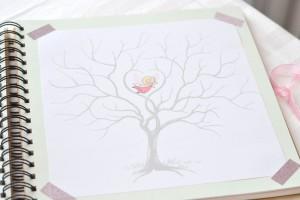 baptême thème des anges : arbre à empruntes