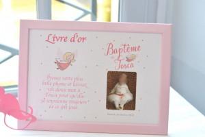 baptême thème des anges : livre do'r et arbre à empruntes