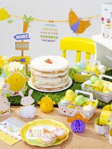 Décorations de tables de Pâques : assiettes, oeufs, lapins