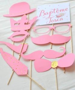 baptême thème des anges :photobooth rose