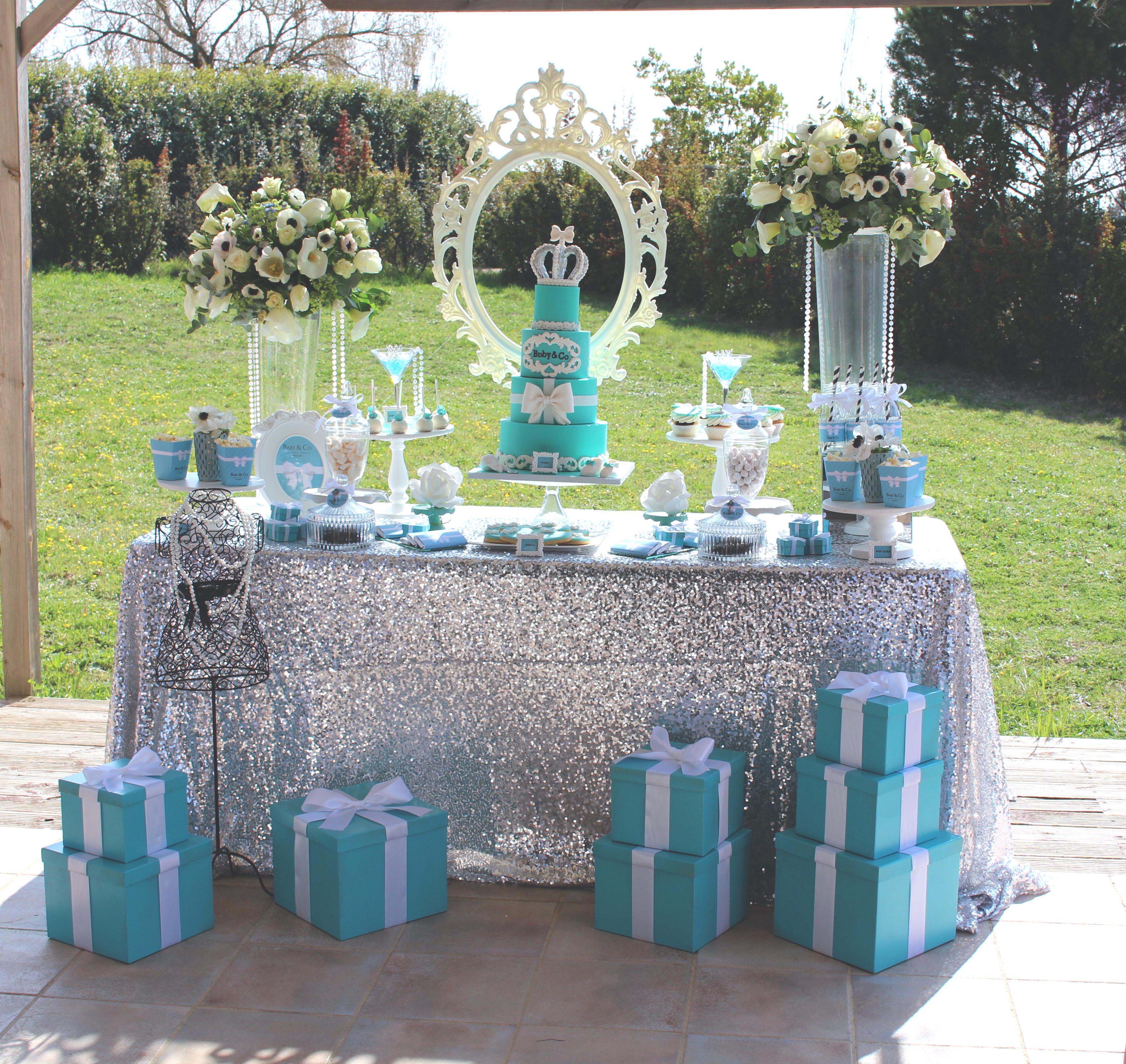 Baby shower thème Baby&Co bleu et blanc