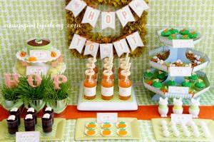 ns de tables de Pâques : orange et vert