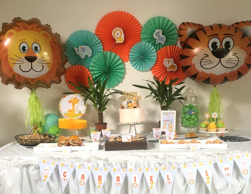 Premier anniversaire jungle pour gabriel organisation baby shower anniversaire enfants et bapt me - Decoration animaux de la jungle ...