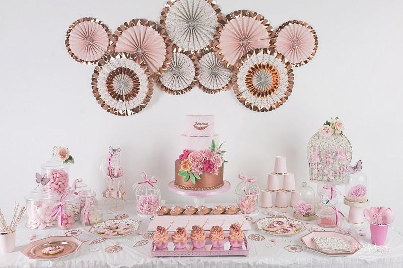 Le Bapteme D Emma Decoration Liberty Rose Gold Organisation Baby